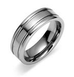 Mens Double Groove Tungsten Polished Wedding Band