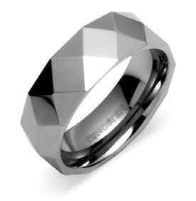 Mens Square Cut Tungsten Wedding Ring Bands