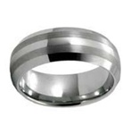 Dome Double Brushed Stripes Tungsten Band