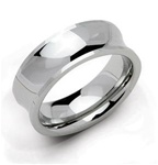 Concaved Polished Tungsten Wedding Ring