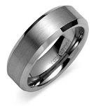 The Single Bevel Brushed Tungsten Carbide Wedding Band