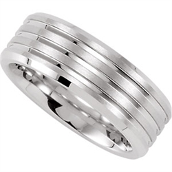 Dura Cobalt Ring with Satin Finish & Triple Grooves