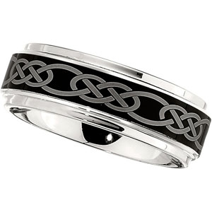 8mm dura cobalt wedding band with black laser celtic knot - Cobalt Wedding Rings