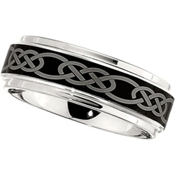8mm Dura Cobalt Wedding Band with Black Laser Celtic Knot
