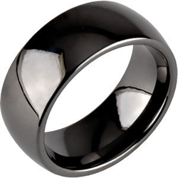 8mm Classic Dome Black Ceramic Ring