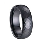 8mm Faceted Ceramic Ring in Black or White