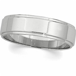 14K White Gold Step Edge Wedding Band in 8mm