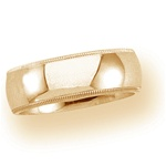 14K Yellow Gold 8mm Milgrain Band