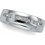 14K White Gold 3/8 ct Diamond Duo Wedding Band