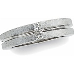 14K White Gold 1/5 ct Diamond Duo Wedding Band