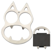 BK-10 Knuckle Self Defense Silver Cat with Tactical Hard Sheath