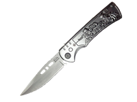 CA103 Automatic Knife Silver Handle With Army Men