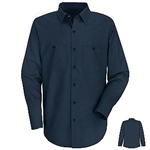 Navy Blue Long Sleeve Work Shirt, regular length