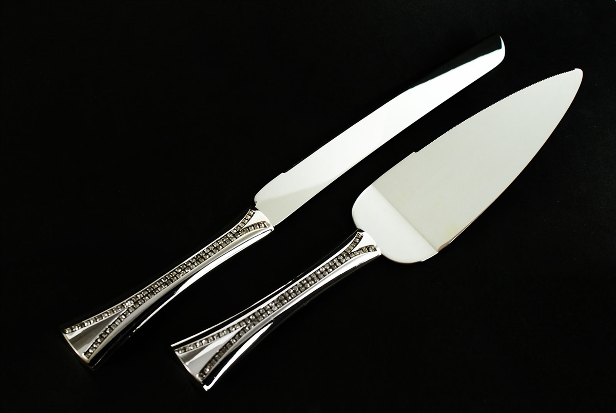Plated Diamond Wedding Cake Knife Set Engraving Personalized