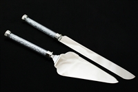 Wedding Knife and Cake Server Set with Diamond Filled Glass Tube Handle