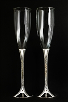 Silver Plated Wedding ChampagneToasting Champagne Glass Set Engraved
