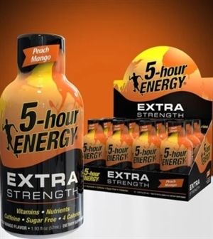5 Hour Energy Extra Strength Peach Mango Shot 12/59ml Sugg Ret $4.99