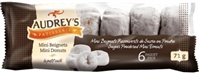 Audrey's Mini Powdered Sugar Donuts 12/85g Sugg Ret $2.59