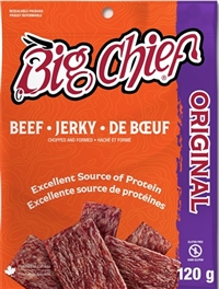 Big Chief 120g Original Beef Jerky Zip Lock Bag 12/120g Sugg Ret $9.99***PROMO RET $7.99 ***