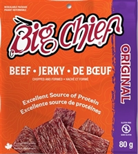 Big Chief 80g Original Beef Jerky Zip Lock Bag 12/80g Sugg Ret $6.49​