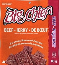 Big Chief 80g Hot Beef Jerky 12/80g Sugg Ret $6.49***ON SALE 2 For $11.00**