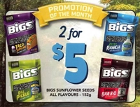 Bigs 1 each Sunflower Seeds Point of Sale Cards***PROMO RETAIL 2 for $4.50***