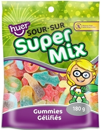 Huer 180g Super Sour Gummy Mix 12/180g Sugg Ret $3.49