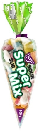 Huer 200g Cone Super Cone Sour Candy Assorted Gummy Mix 12/200g Sugg Ret $3.69