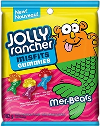 Jolly Rancher Peg Top Misfits Mer-Bears Gummies 10/182g Sugg Ret $3.89