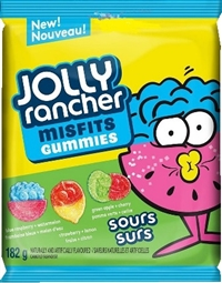 Jolly Rancher Peg Top Misfits Sour Gummies 10/182g Sugg Ret $3.89