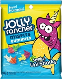 Jolly Rancher Peg Top Misfits Sour Tropical Uni-Sharks Gummies 10/182g Sugg Ret $3.89