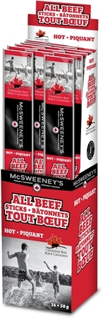 McSweeney's 50g All Beef Hot Stick 16/50g Sugg Ret $3.19​***PROMO RETAIL 2 for $5.00***