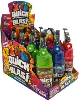 Quick Blast Fire Extinguisher, Sour Candy Spray Dispenser 12/85g Sugg Ret $2.49