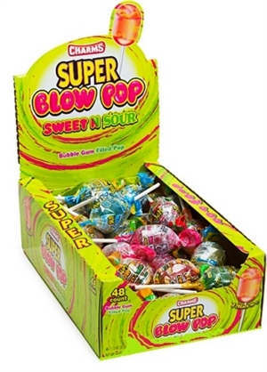 Super Blow Pop Sweet-N-Sour 36/36g Sugg Ret $0.69