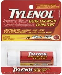 Tylenol Extra Strength Acetaminophen Caplets 12/ 500 mg Display Box Sugg Ret $4.89