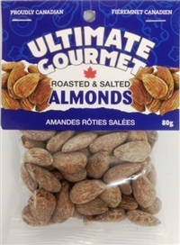 Ultimate Gourmet Header Bag Almonds Salted 8/90g Sugg Ret $4.95
