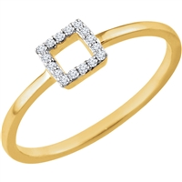 This stylish 14k yellow gold diamond stackable ring features a diamond set square in the middle of this 14k yellow gold diamond stack ring.