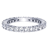 This round diamond eternity band is set with over 1.5 carats of round diamonds in an eternity band setting by Gabriel & Co.