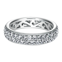 In 14k white gold, this double row diamond eternity band features 1.65 carats of diamond elegance with a delicate metal work of milgrain.