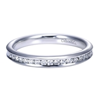 Beautiful round diamonds are set into a 14k white gold channel in this fresh and classic white gold diamond wedding band!