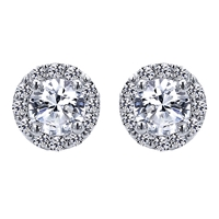 This 14k white gold diamond stud earring features nearly one quarter carat of diamonds in a halo with a round diamonds in center.