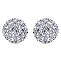 These 14k white gold spiral diamond studs are swirled with round brilliant diamonds in this pair of clustered studs.