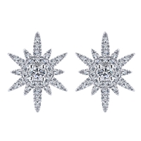 This 14k white gold diamond star shaped studs feature 0.39 carats of round brilliant diamonds in a beautiful and dynamic setting.