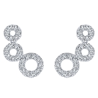 This unique 14k white gold diamond stud pair of earrings feature almost one quarter carats of diamond brilliance in a stylish and bold triple circle setting in 14k white gold.
