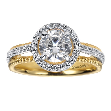 14K Two Tone Contemporary Halo Engagement Ring