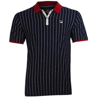Fila Men's Core Heritage BB1 Polo- Peacoat Blue, Chinese Red, White LM161RM5-410