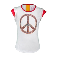 Lucky in Love Girls`Mesh Tennis Cap Sleeve Top White