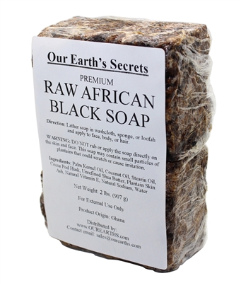 Our Earth's Secrets Natural Raw African Black Soap, 2 lbs