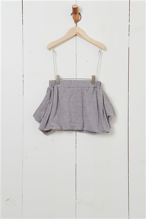 Girls Grey Double Pocket Solid Skirt