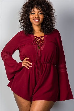 Burgundy Plunging V-Neck Plus Size Romper